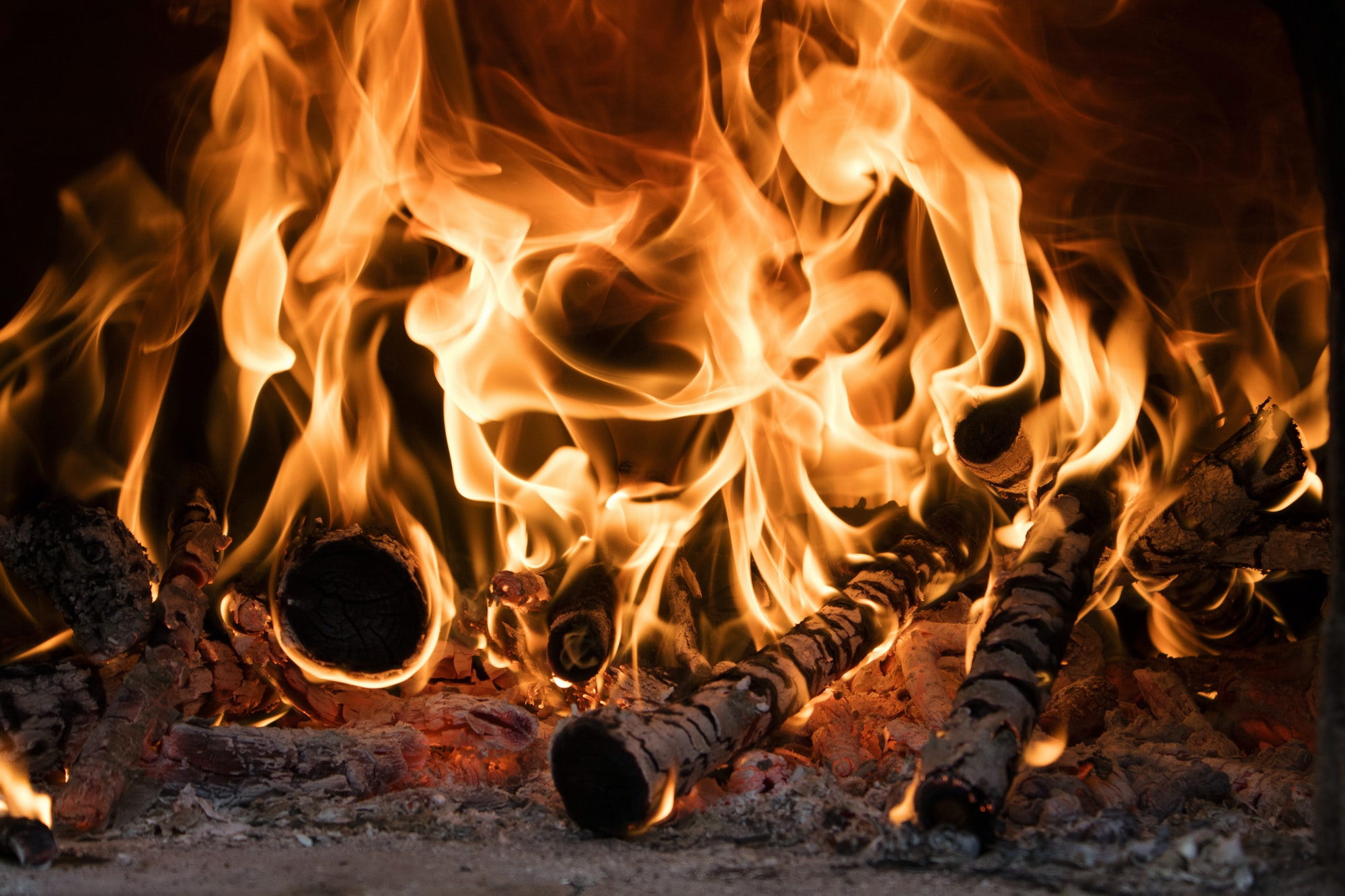 Fire and flames of wood